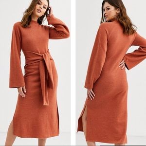 ASOS long sleeve crew neck tie front midi dress